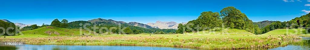 Lake District idyllic Elterwater panorama Cumbria UK stock photo
