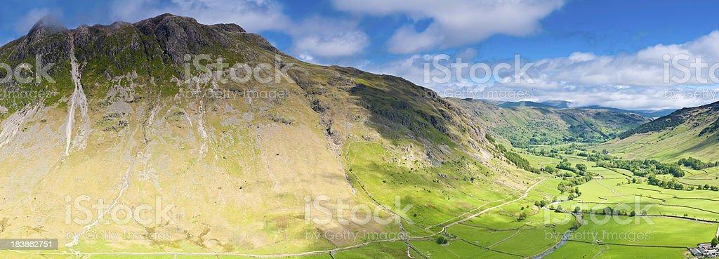 Lake District idyllic mountain panorama Cumbria UK stock photo