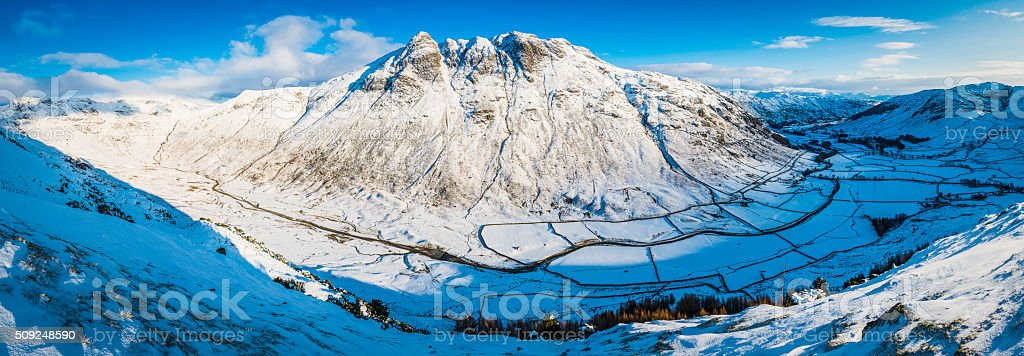 Lake District Langdale Pikes winter fells snow Cumbria mountain panorama stock photo