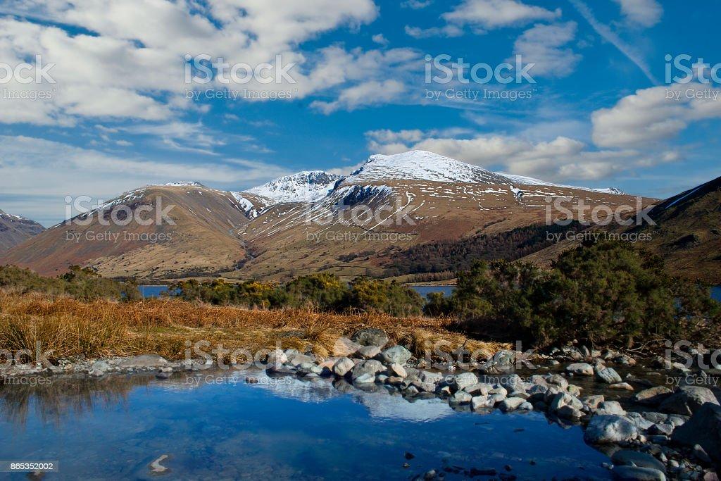 Lake district mountain view stock photo