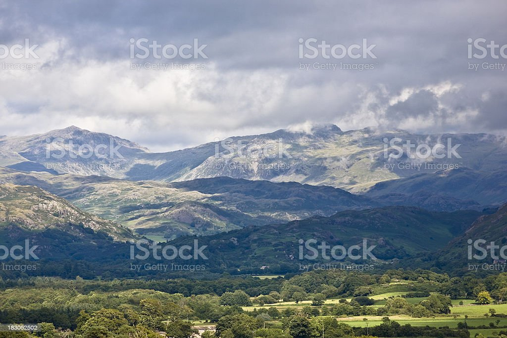 Lake District Mountains in cloud Grasmere England royalty-free stock photo