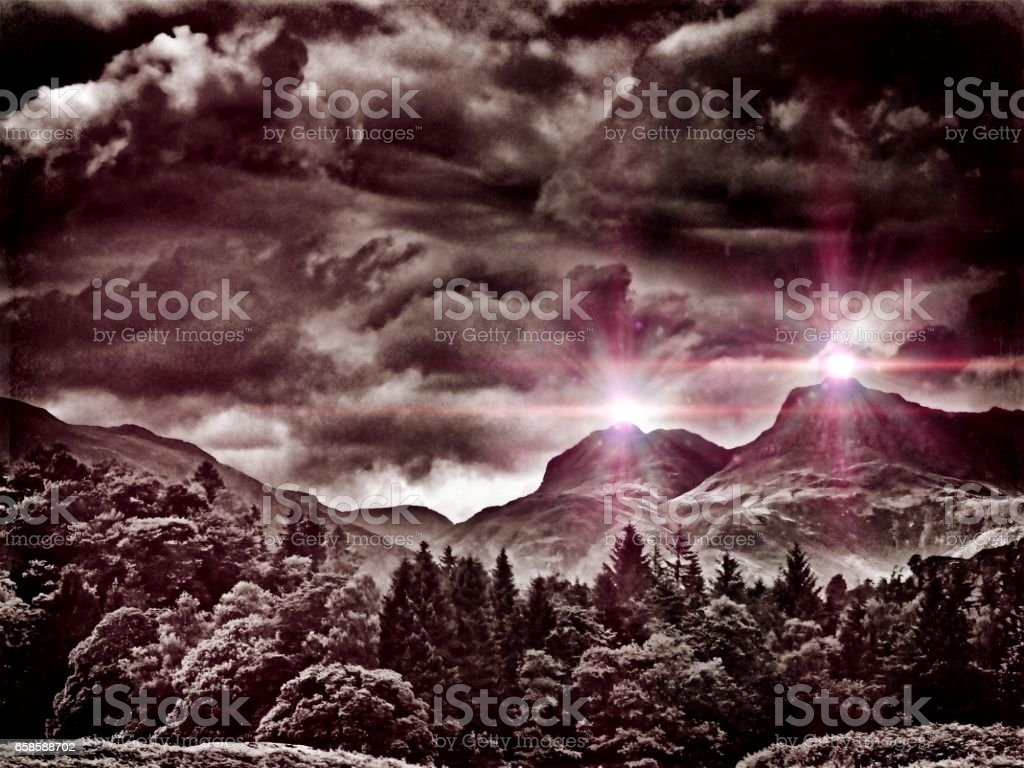 Lake District- Out of Space & Time - Langdale Pikes Lights stock photo