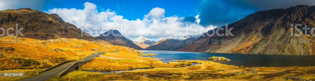 Lake District panoramic view across Wastwater Scafell Great Gable Cumbria stock photo