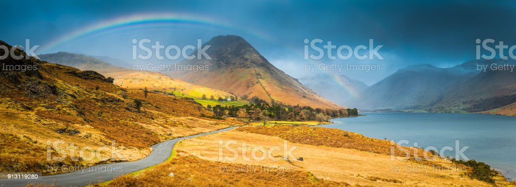 Lake District rainbow dramatic sky over Wastwater Yewbarrow panorama Cumbria stock photo