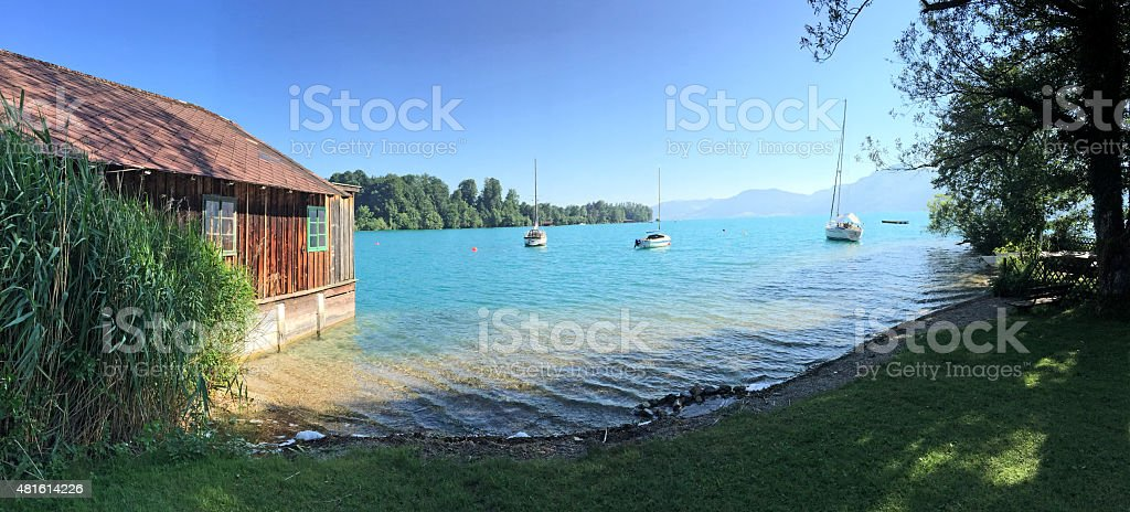 Lake district Salzburger Land: View over lake Attersee, Austrian Alps stock photo