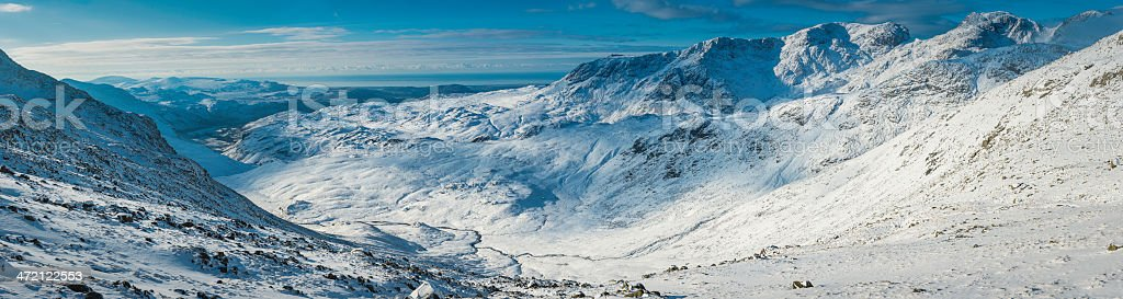 Lake District Scafell Pike dramatic snow covered mountains panorama Cumbria stock photo