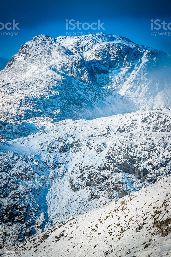 Lake District Scafell Pike iconic mountain snowy winter summit Cumbria stock photo