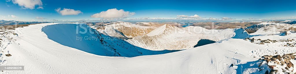 Lake District snow summit panorama royalty-free stock photo
