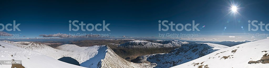 Lake District snow summit sunburst royalty-free stock photo