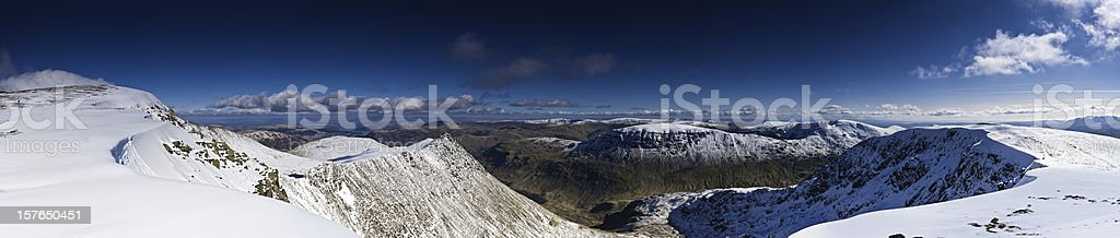 Lake District Striding Edge Helvellyn white winter snow panorama UK stock photo