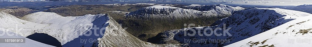 Lake District Striding Edge Helvellyn winter snow panorama Cumbria UK stock photo