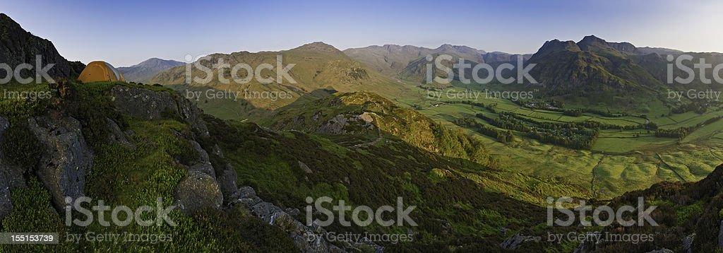 Lake District wild camp sunrise Langdale mountain panorama royalty-free stock photo