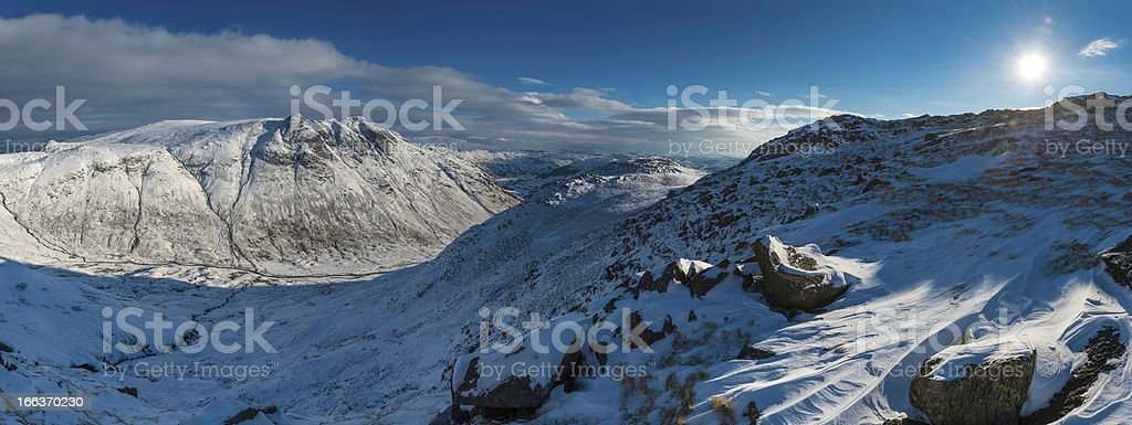 Lake District winter mountain snow panorama idyllic landscape Cumbria UK royalty-free stock photo