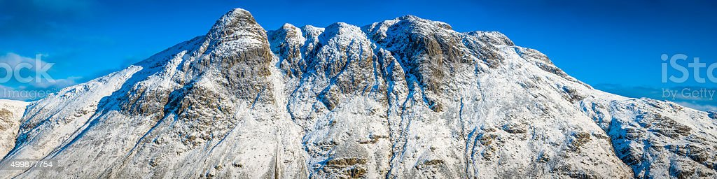 Lake District winter snow on summits of Langdale Pikes Cumbria stock photo