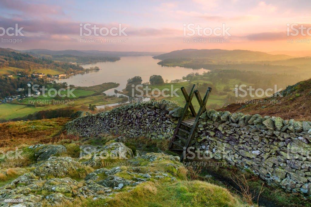Lake District Winter Sunset. stock photo