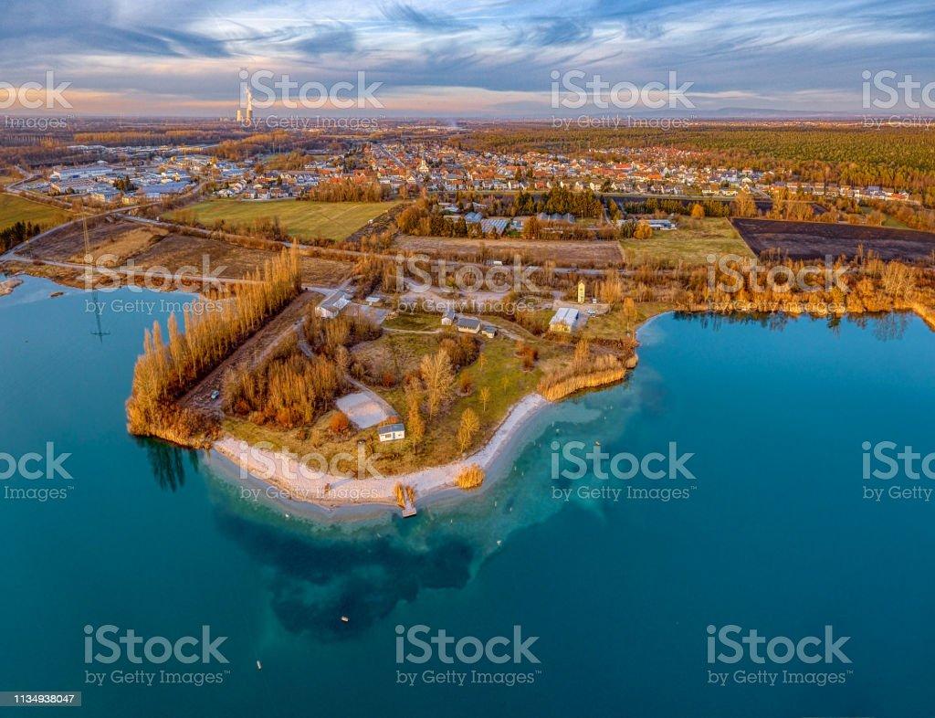 Blick auf den See der Drohne – Foto