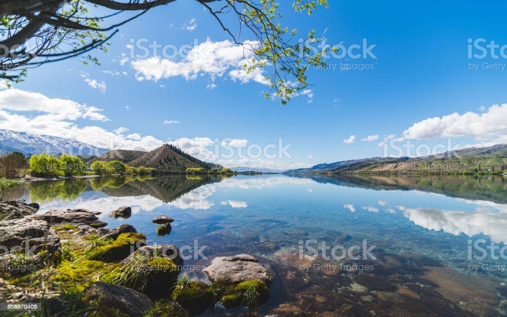 Lake Dunstan, South Island, New Zealand. stock photo