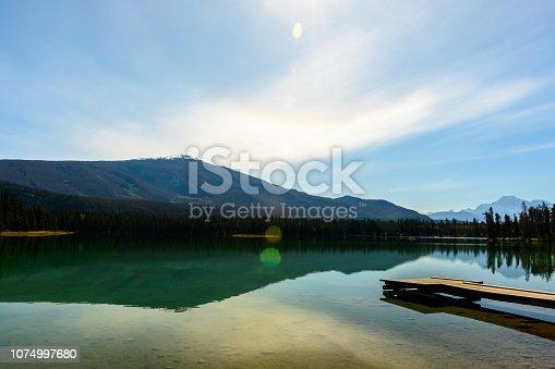 Sunny autumn day at Lake Edith in Jasper