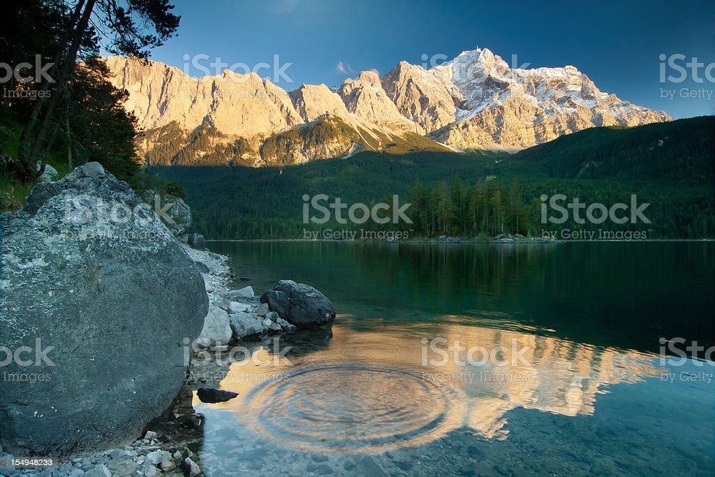 lake eibsee with mt. zugspitz, bavaria, germany stock photo