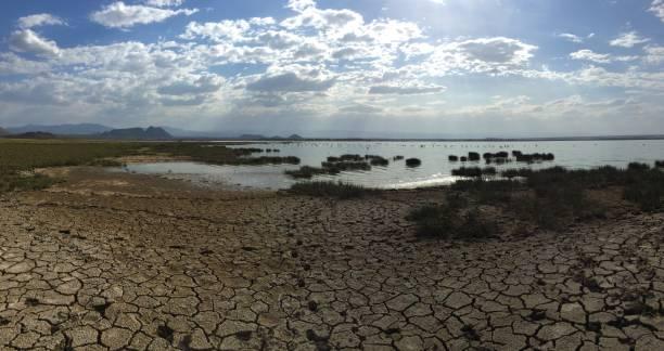 Lake Elmentetia Dry soda lake (Lake Elmentetia) in Kenya lake bed stock pictures, royalty-free photos & images