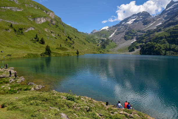 Lake Engstlen over Engelberg on the Swiss alps stock photo