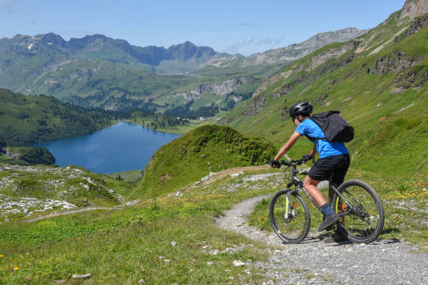Lake Engstlensee over Engelberg on the Swiss alps stock photo