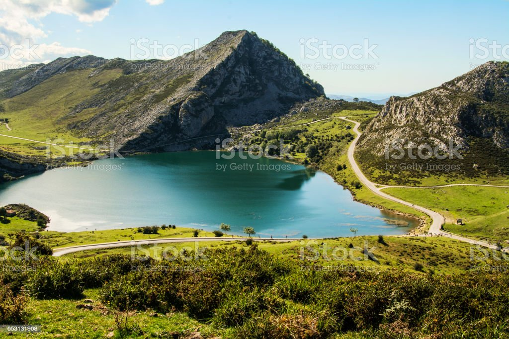 Lake 'Enol' in Covadonga National Park stock photo