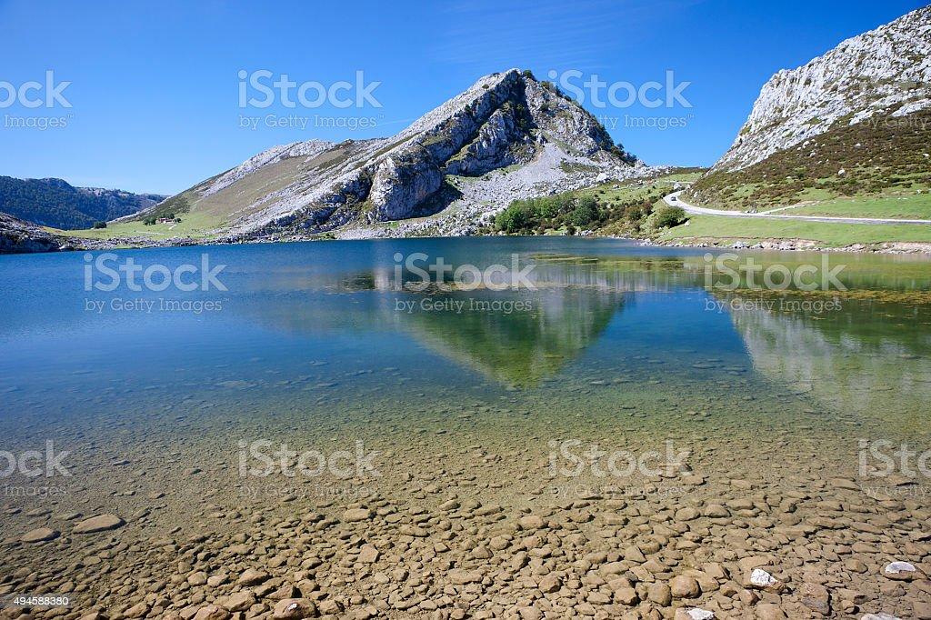Lake Enol, lakes of Covadonga, Asturias , Spain stock photo