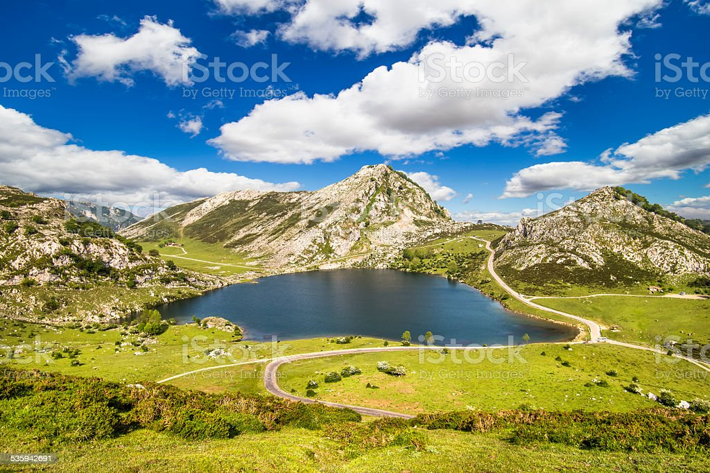 Lake Enol, lakes of Covadonga, Asturias , Spain stock photo