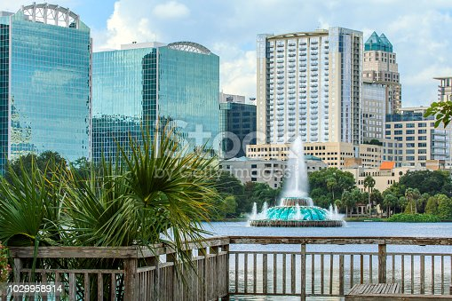 View of the Lake Eola Fountain with Orlando's Skyline in the background.