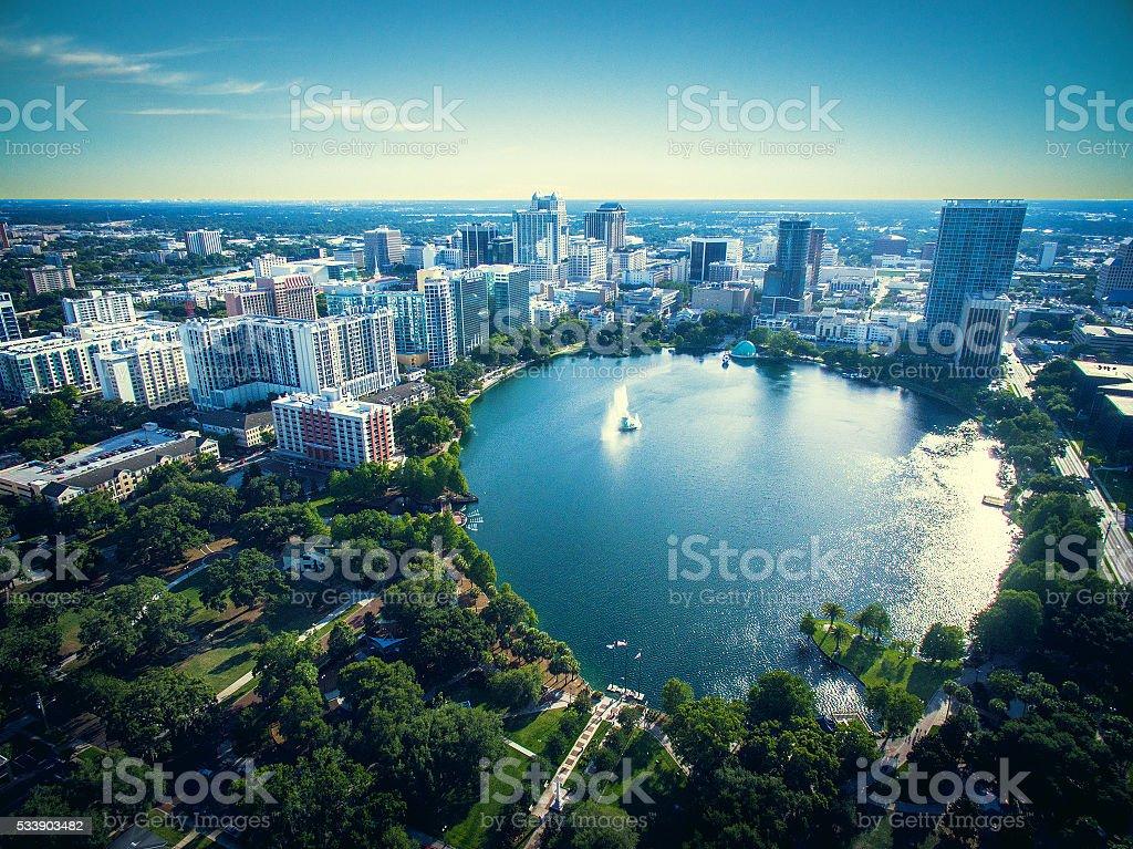 Lake Eola Park Lake Eola Park, Orlando Florida Aerial View Stock Photo