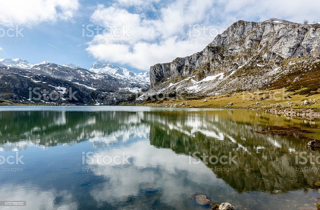 lake Ercina Covadfonga, Spain stock photo