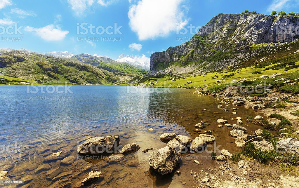 lake ercina covadonga stock photo