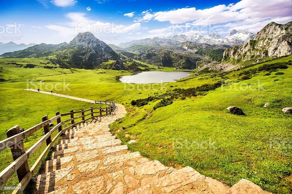 Lake Ercina,lakes of Covadonga,Asturias,Spain. stock photo
