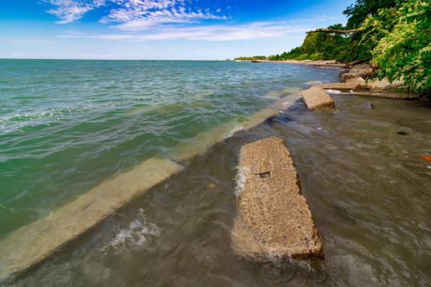 Lake Erie Coastline, Conneaut Beach Ohio stock photo