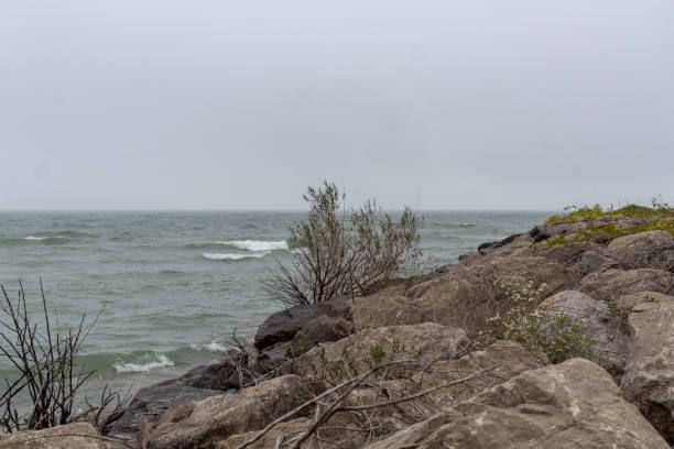 Lake Erie Coastline, Geneva On The Lake Ohio stock photo