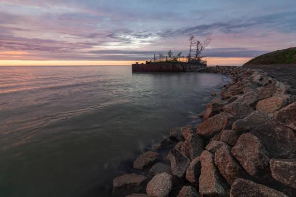 Lake Erie Coastline, Newph's Landing, Ohio stock photo