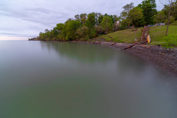 Lake Erie Coastline, Rubes Landing, Ohio stock photo