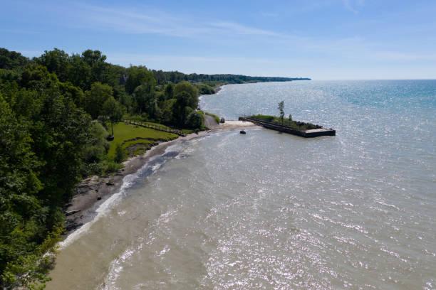 Lake Erie Coastline, Rubes Landing Ohio stock photo