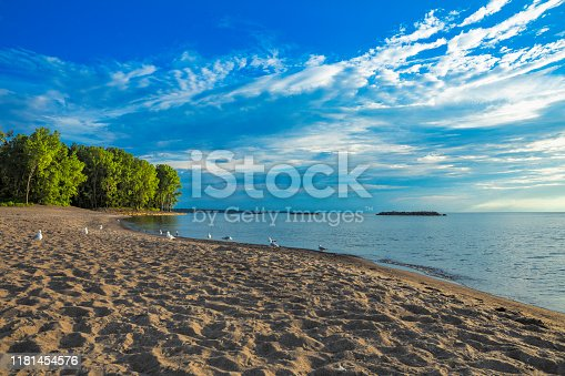 The shore of the beautiful Lake Erie in Erie Pennsylvania.