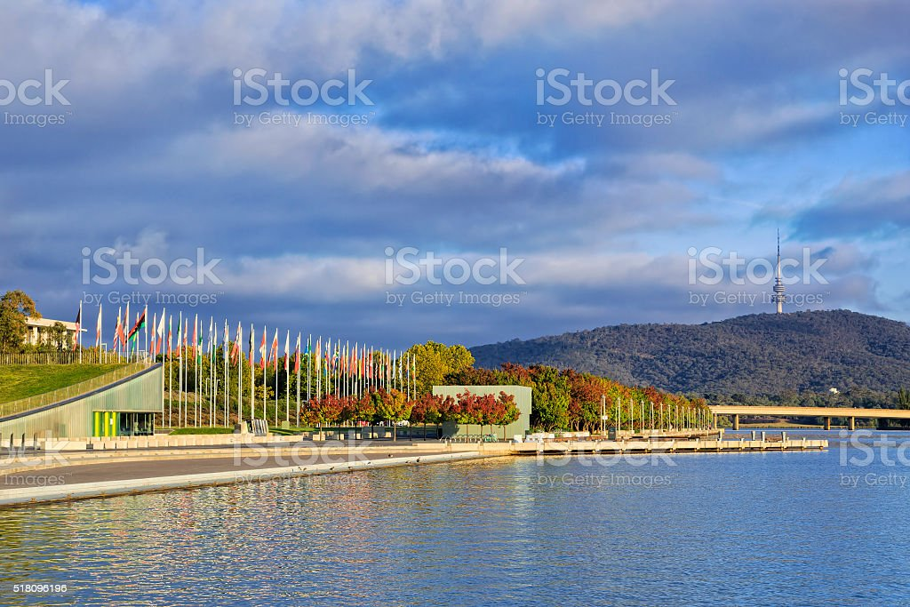 CAN Lake Flags Sun stock photo