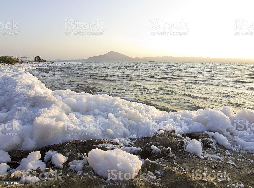 Lake foam stock photo