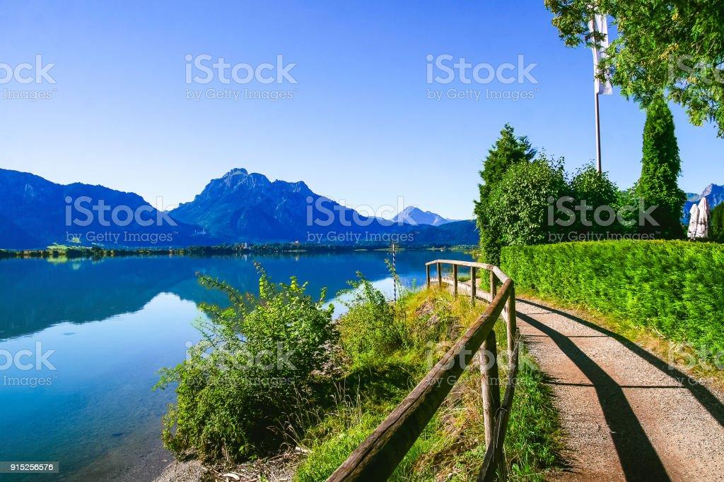 Lake Forggensee in summer near Füssen with Mountain Säuling,Ost-Allgäu, Bavaria, Germany stock photo