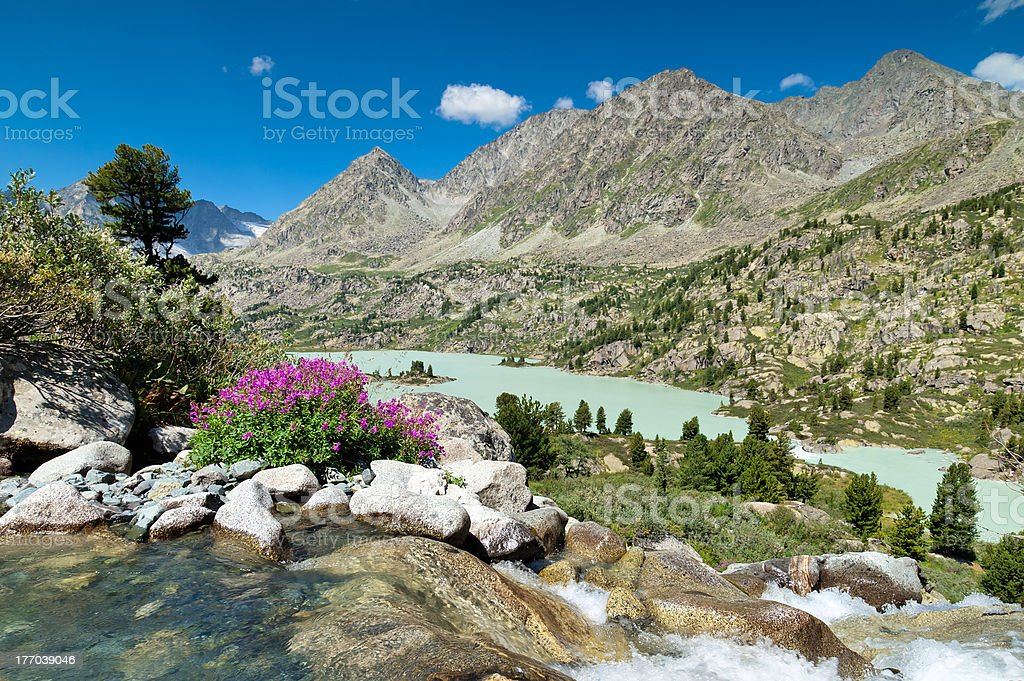Lake from above, Altay stock photo