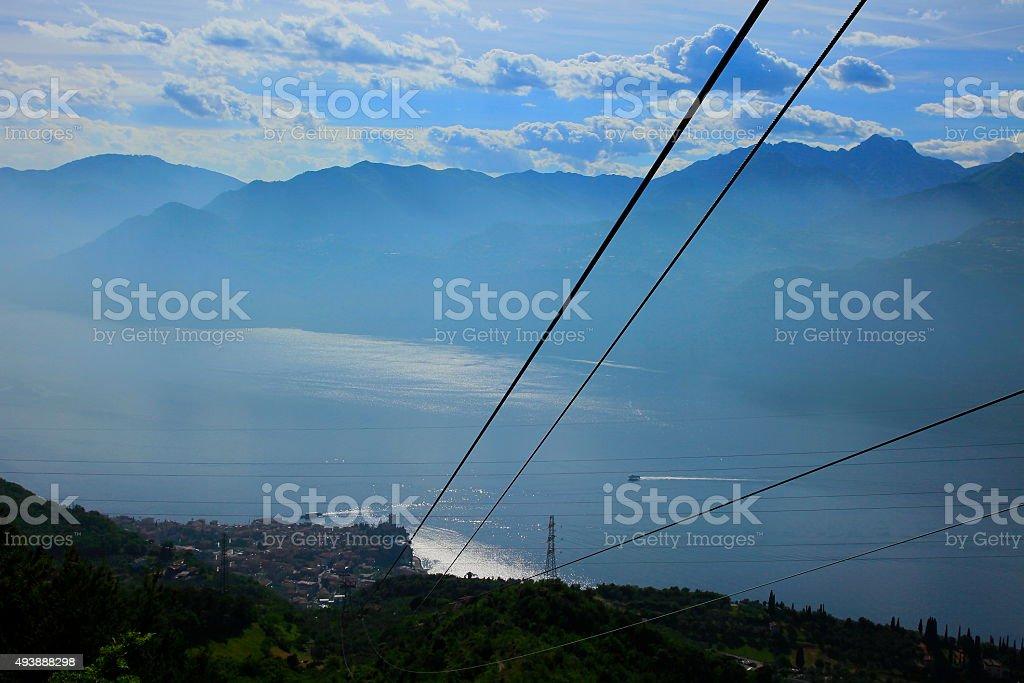 Lake Garda Alpine Landscape Cable Car Above Monte Baldo Malcesine