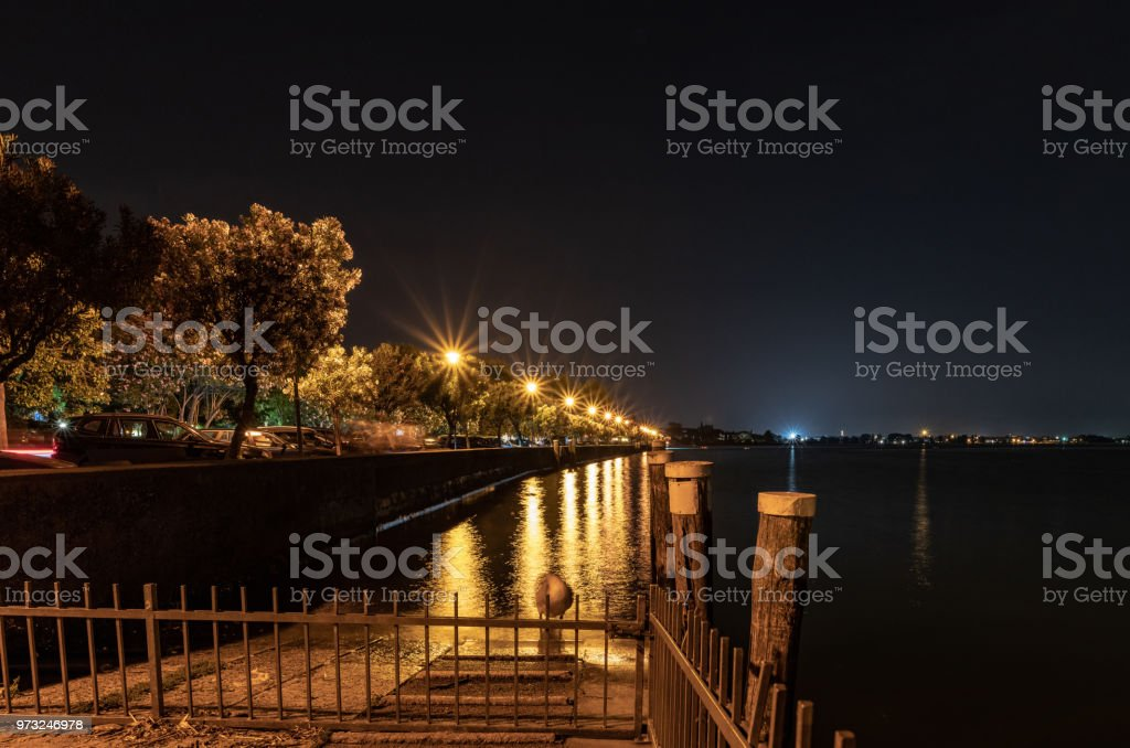 Lake Garda from the banks of Sirmione in Lake Garda, Italy stock photo