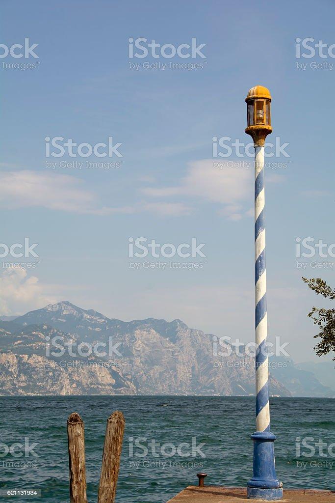 Lake Garda, Italy, blue white light pole – Foto