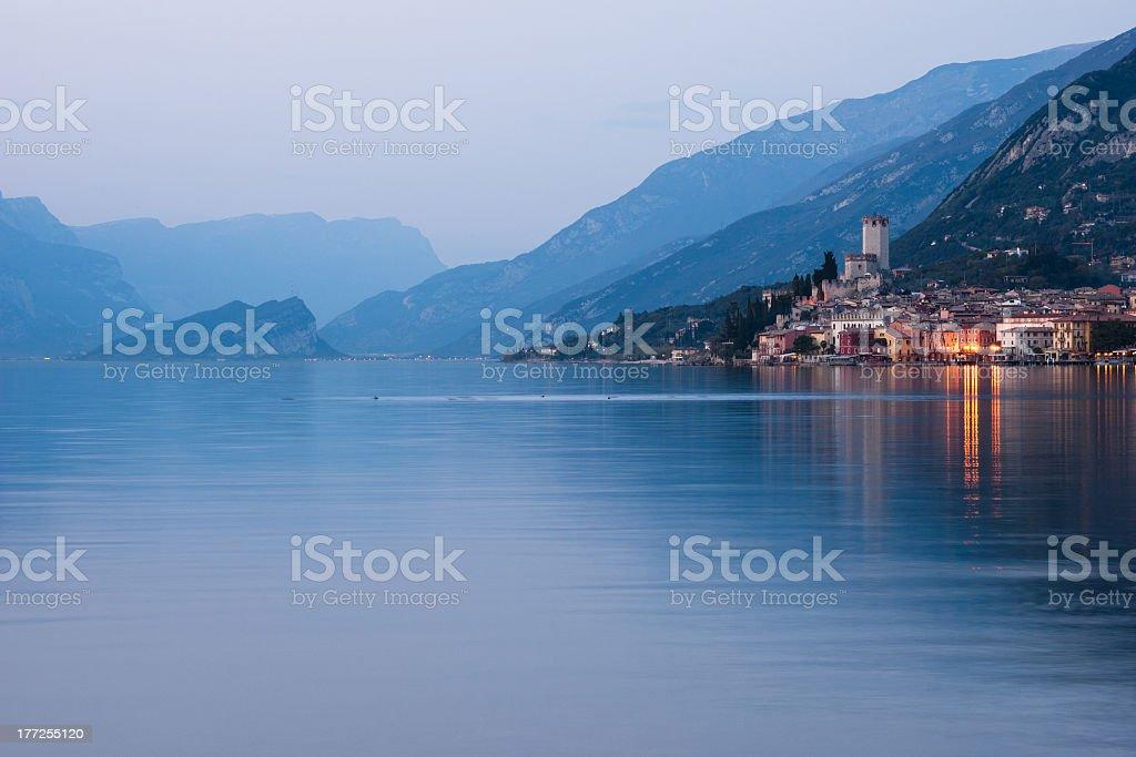 Lake Garda - Malcesine At Dusk stock photo