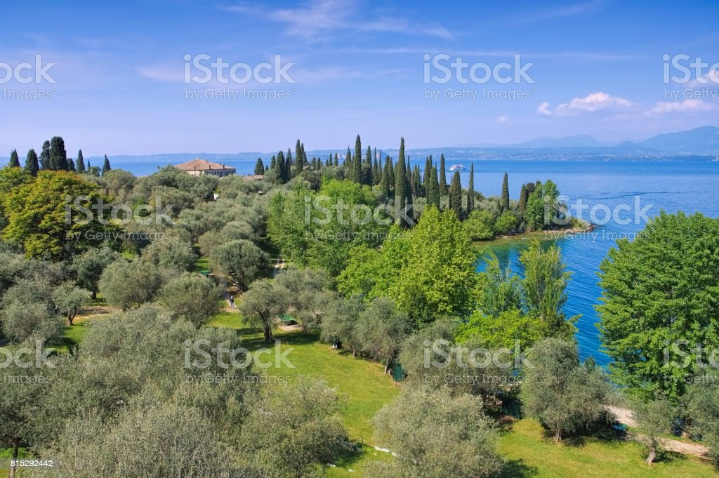 Lake Garda peninsula Punta San Vigilio stock photo