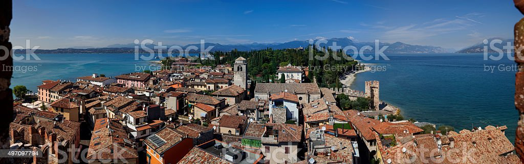 Lake Garda, Sirmione and Italian Alps 83 Mpix stock photo